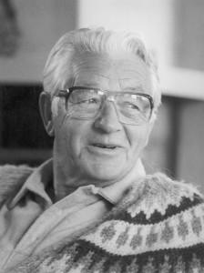 Wally Stegner in sweater b&w