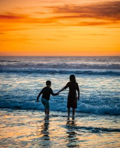Francis Beach - two children at sunset